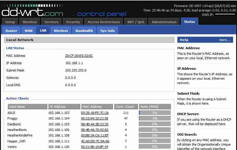 Router Webpage