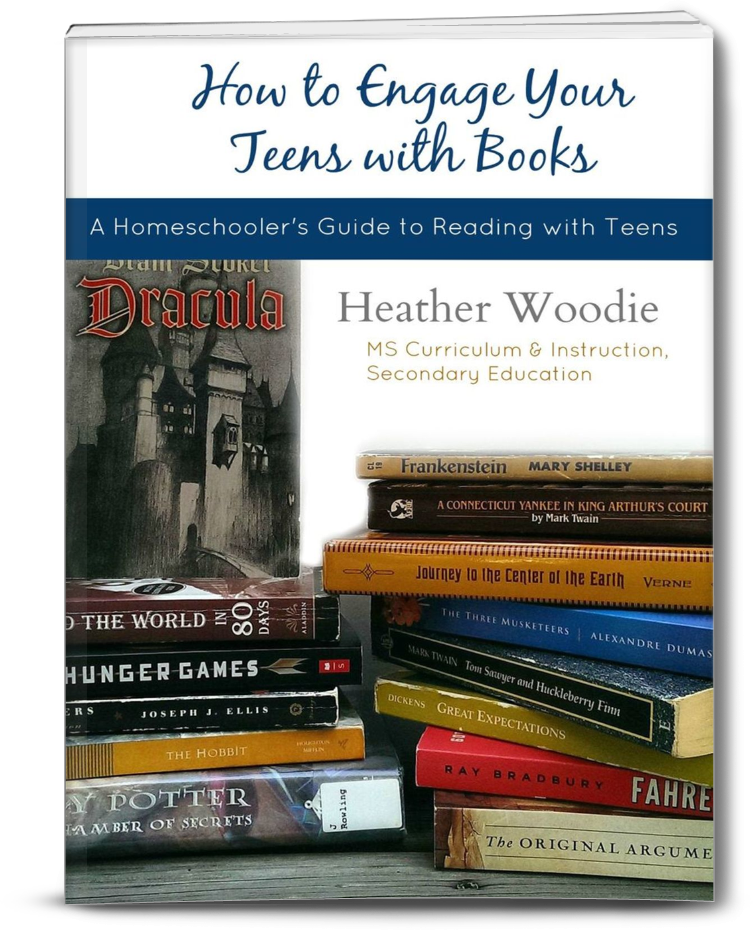 How to Engage Your Teen with Books- A Homeschooler's Guide to Reading with Teens- stack of books makes the image of this book cover