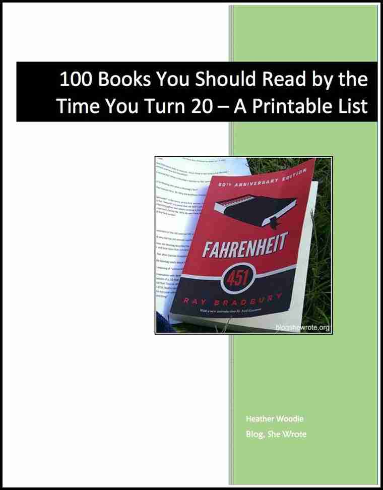 100 Books You Should by the Time You Turn 20 The Printable List