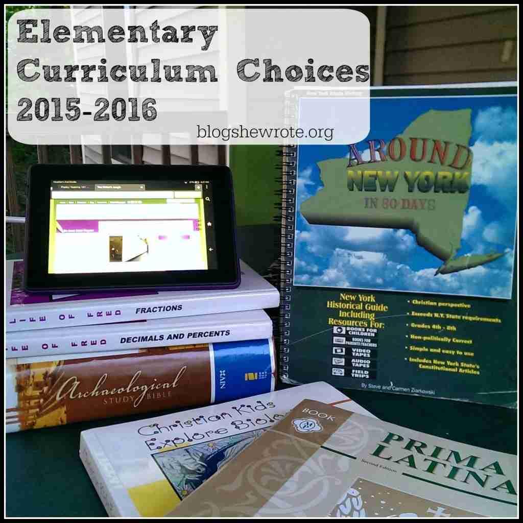 Elementary Curriculum Choices 2015-2016