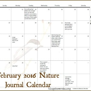 February 2016 Nature Journal Calendar