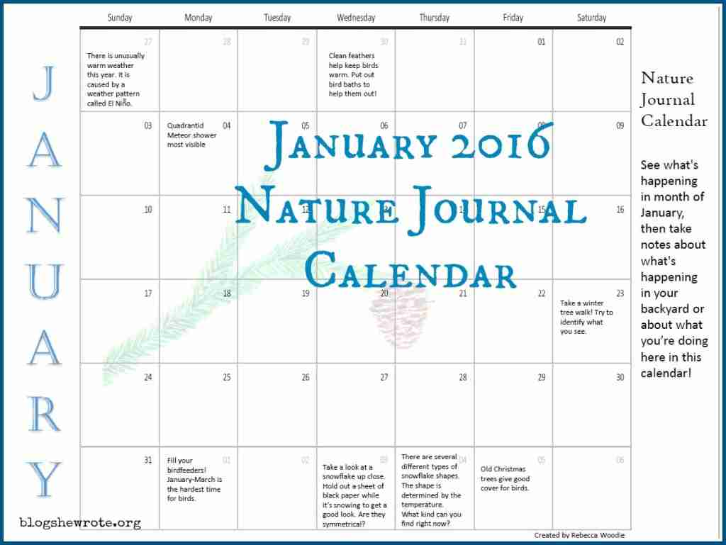 January 2016 Nature Journal Calendar