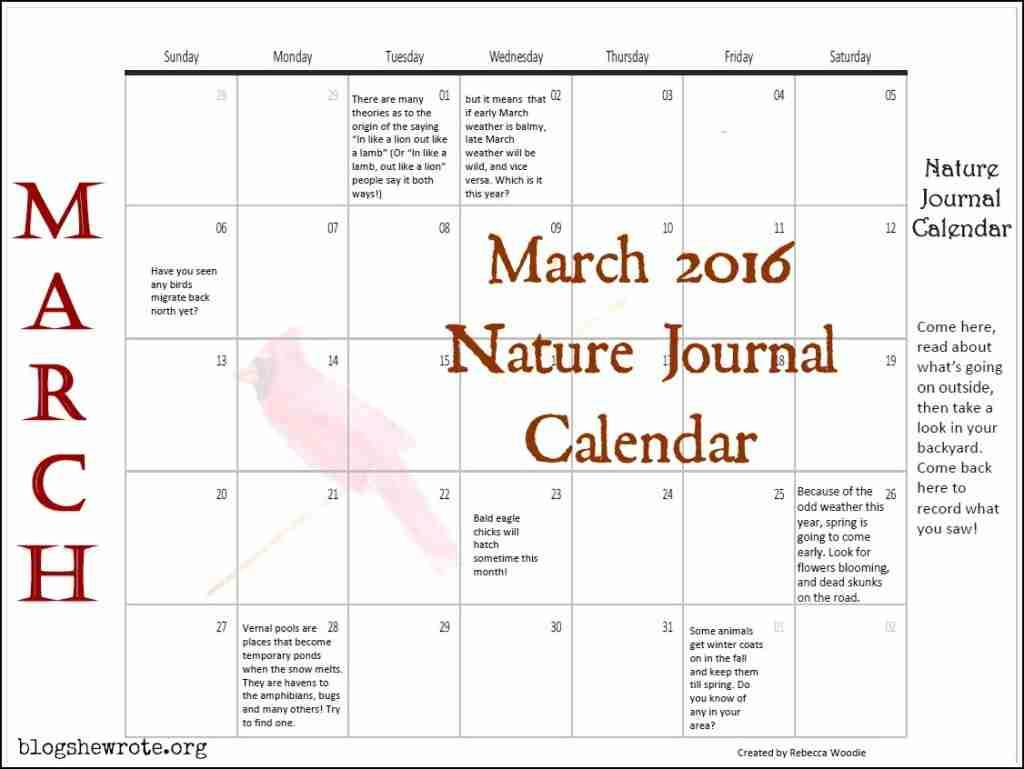 March 2016 Nature Journal Calendar