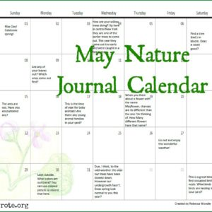 May Nature Journal Calendar