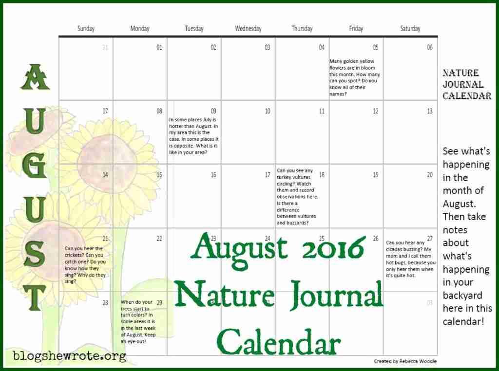 August 2016 Nature Journal Calendar