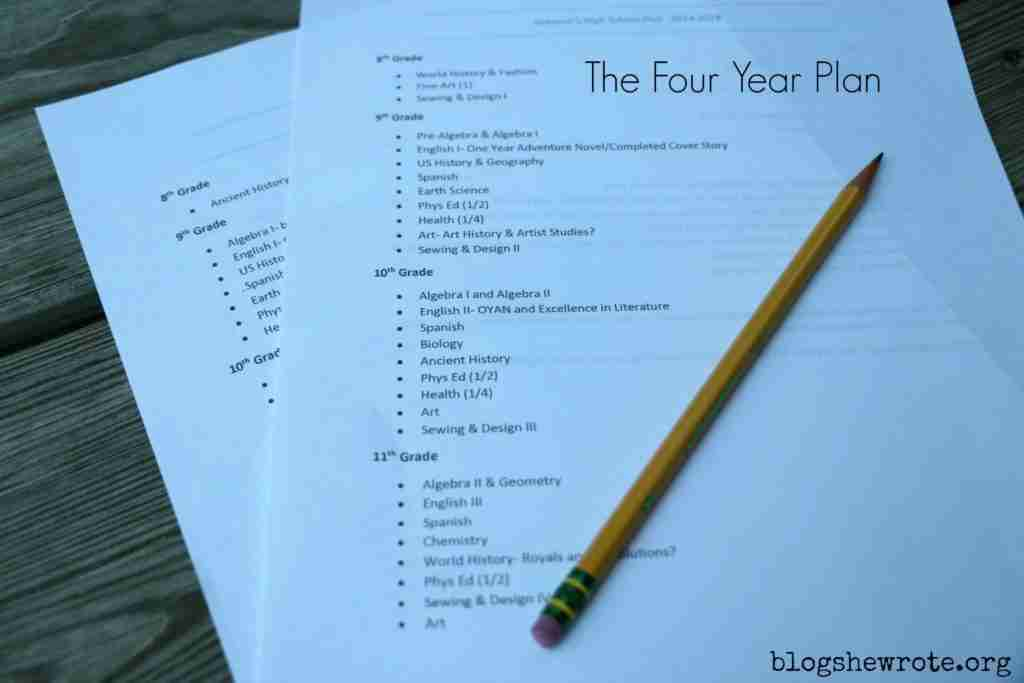 How to Make a Four Year Homeschool High School Plan
