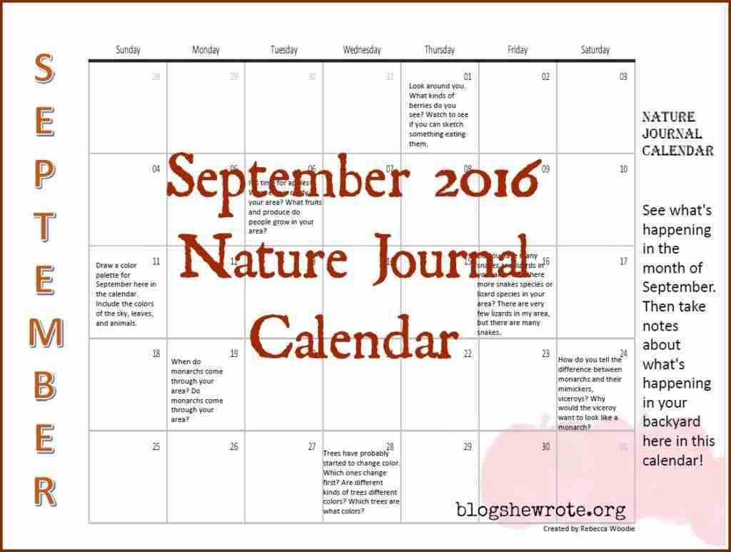 September 2016 Nature Journal Calendar