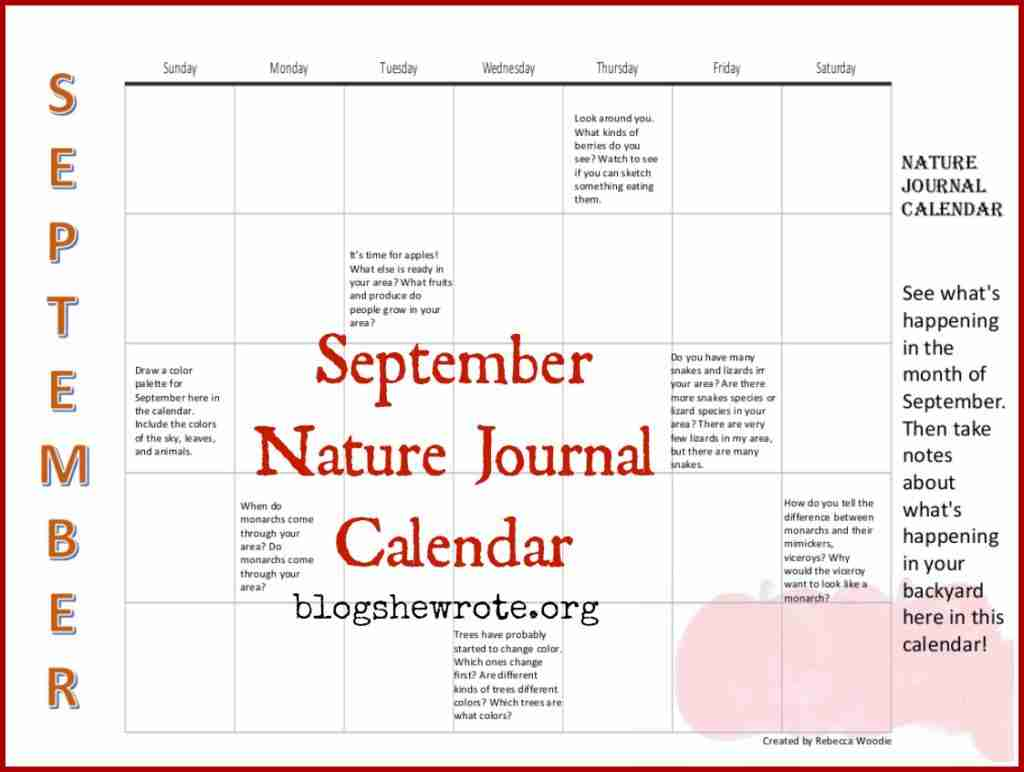 September Nature Journal Calendar