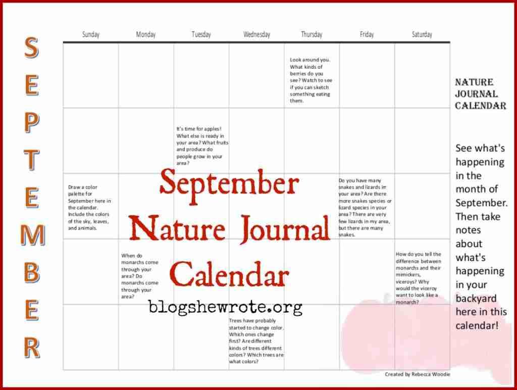September Nature Journal Calendar