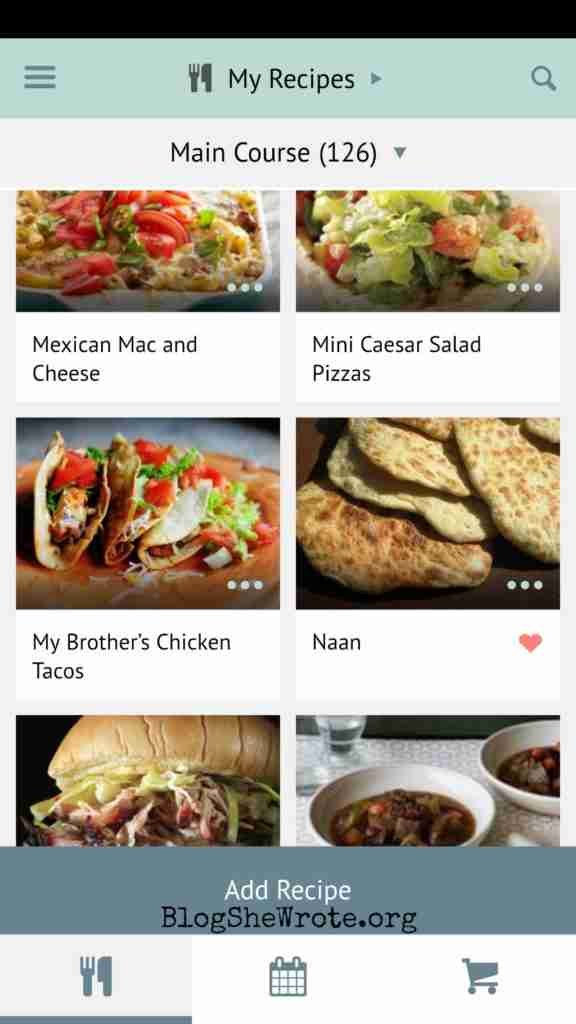 Meal Planning & Shopping Made Easy with Plan to Eat- Screen shot of the recipe list in the app