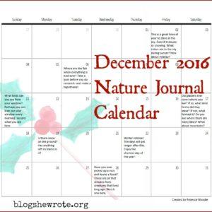 December 2016 Nature Journal Calendar