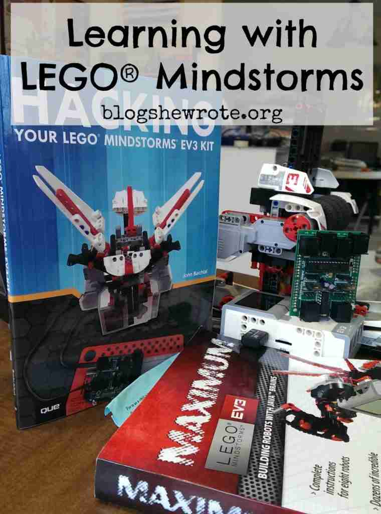 books and a robot related to LEGO Mindstorms