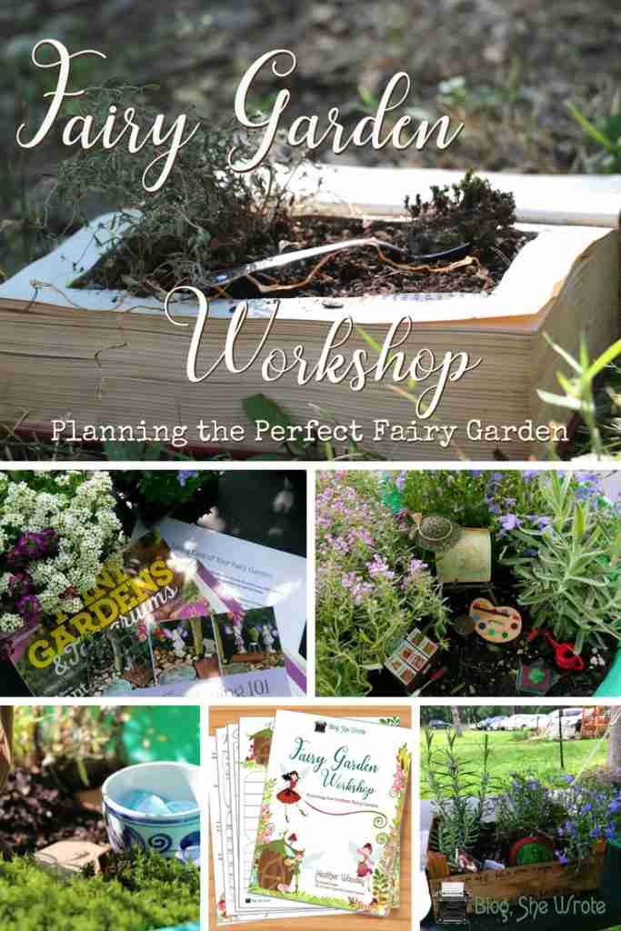 a collage of fairy gardens with a title