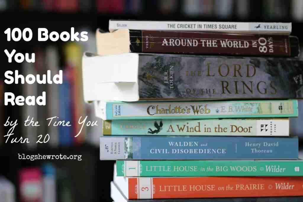 100 Books You Should Read by the Time You Turn 20- a pile of well love books on a table