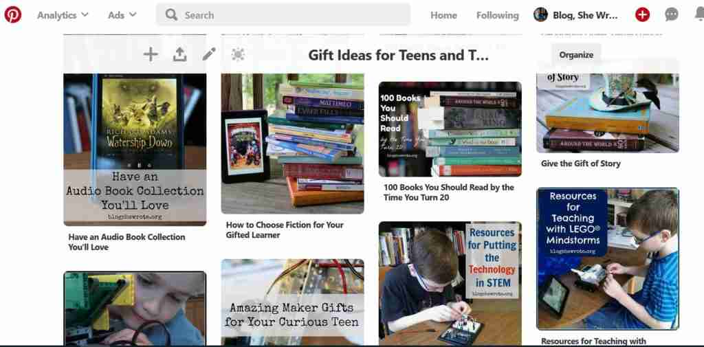 Pinterest Gift Board- a picture of the Pinterest boards all about gift lists