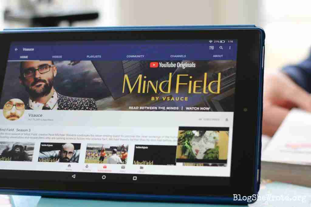 Mind Field You Tube channel on an Amazon Kindle Fire 10HD