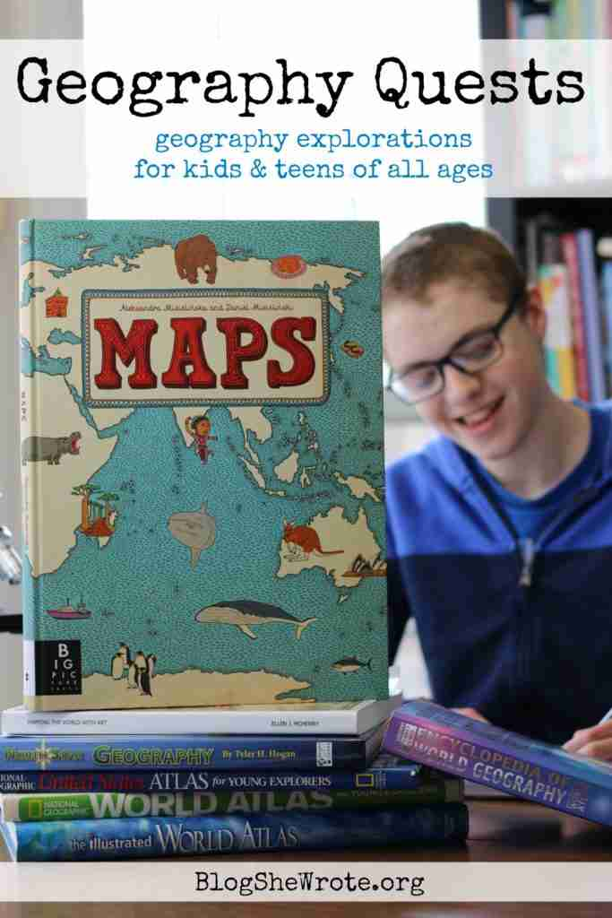 stack of atlases with a teen boy in the background