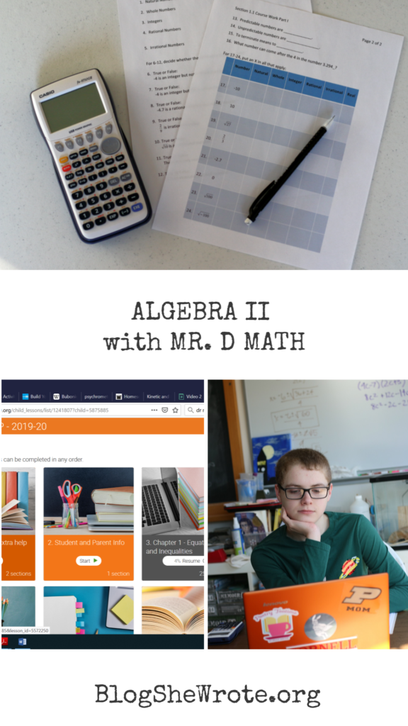 Homeschooling High School Math with Mr D Math- a collage of math things and teenage boy
