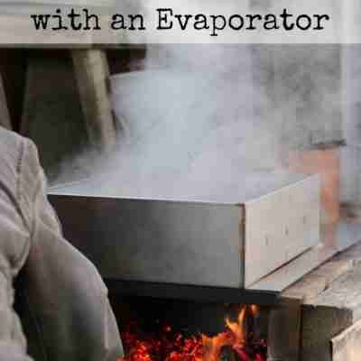 How to Make Your Own Maple Syrup with an Evaporator- someone loading the firebox of a sap evaporator