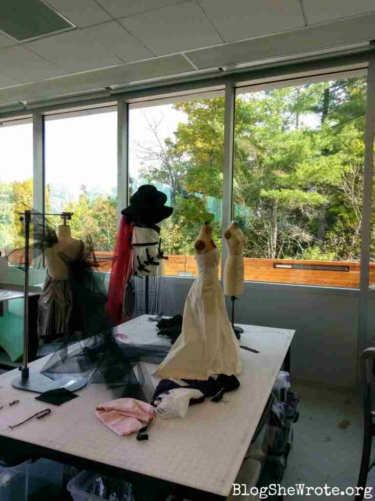 dresses on the half scale forms in a fashion studio