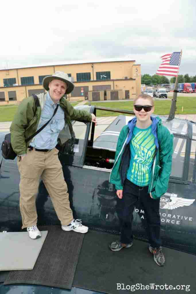 How to Thrive as Your Homeschool Shrinks- a teen and his dad standing on the wing of a fighter plane at a joint forces air show