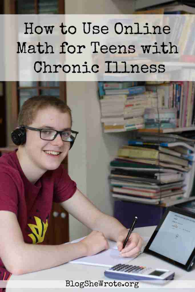 How to Use Online Math for Teens with Chronic Illness- teen boy with headphones on watching a video and doing math problems