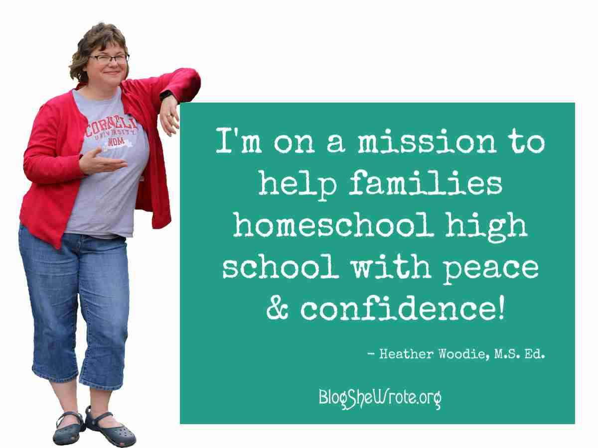 Woman leaning against a text box that says I'm on a mission to help families homeschool high school with peace and confidence