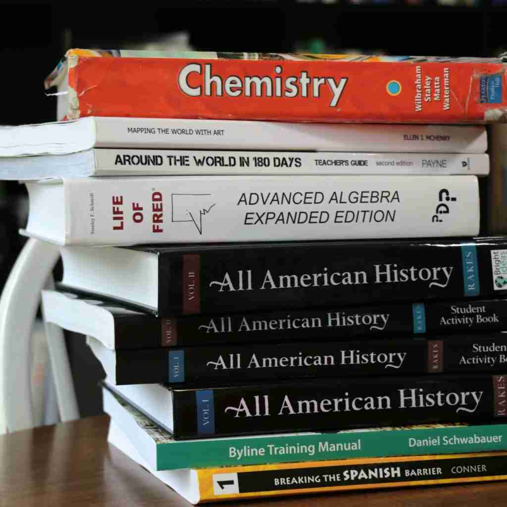 Homeschooling High School by Design- stack of books