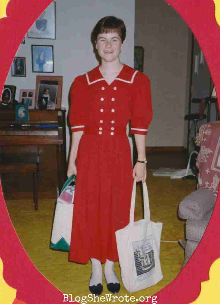High School Teachers Are on a Special Journey Too- me in my red sailor dress with tote bags in my hands ready for the first day of teaching school in my new classroom.
