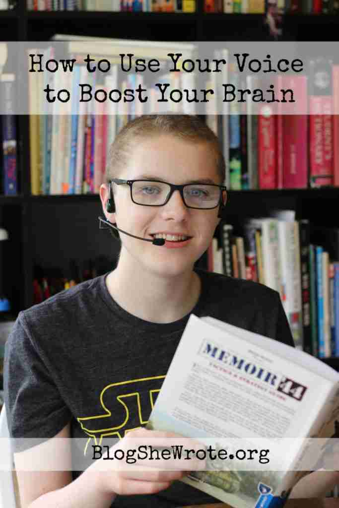 Teen boy with a headset on reading a book aloud