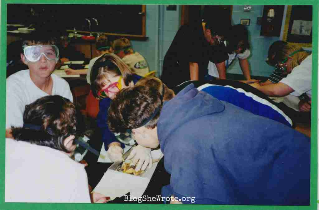 High School Teachers Are on a Special Journey Too- me helping a group of students dissect a frog.