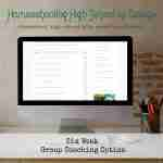 Homeschooling High School by Design on a desktop on top of a desk