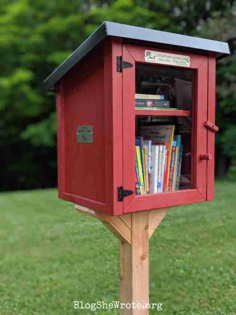 a red  two story Little Free Library at a park with grass and trees in the background