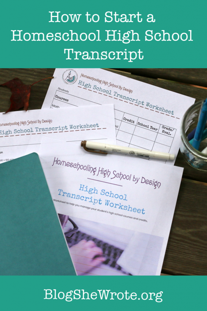 transcript worksheet papers on a wood table setting with a jar of pencils and a journal