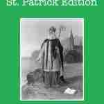 A portrait of St. Patrick on a green background