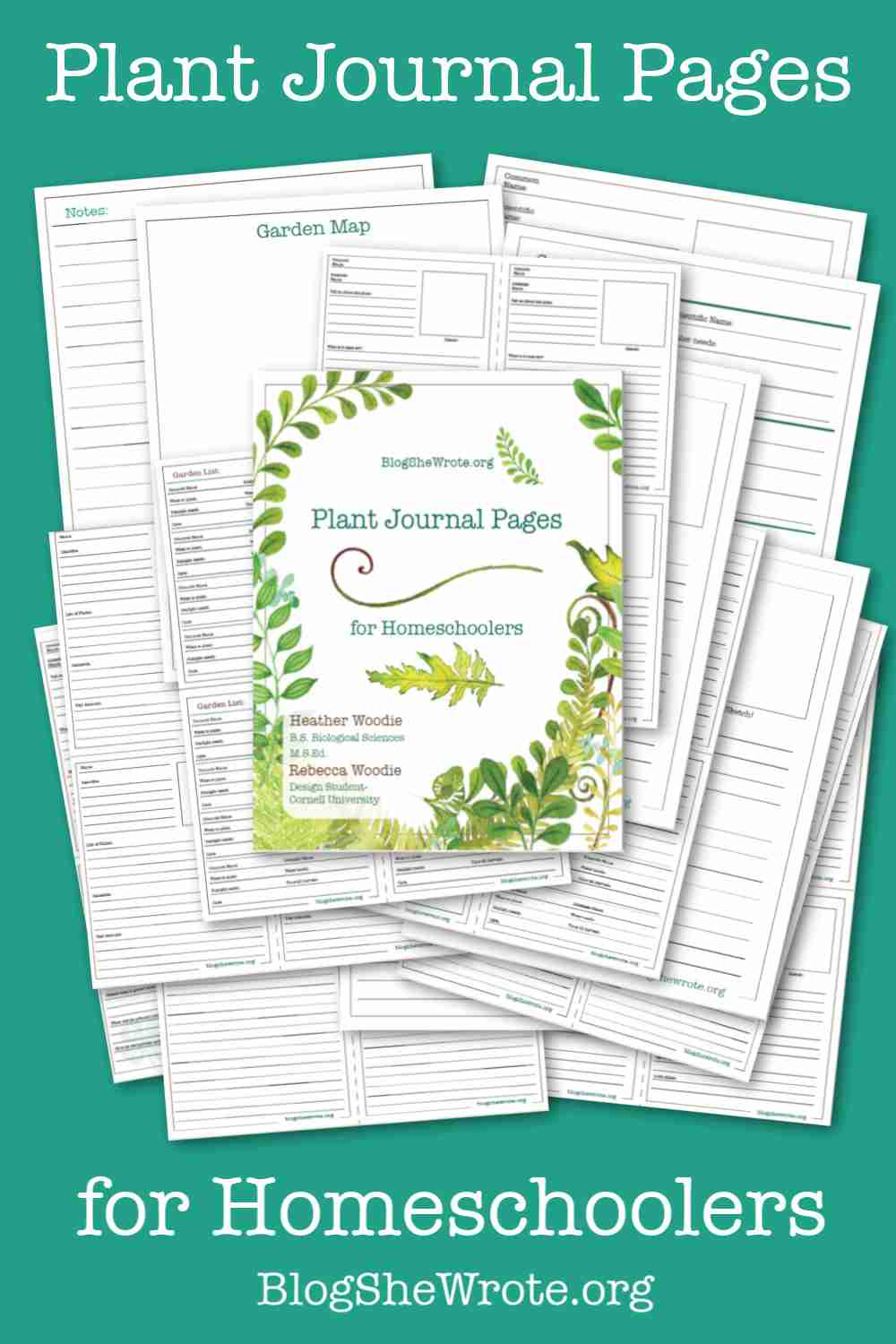 Plant Journaling for Homeschoolers- a set of 40 pages pictures on a teal background