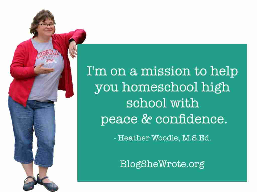 Woman leaning against a text box with the words I'm on a mission to help you homeschool high school with peace & confidence