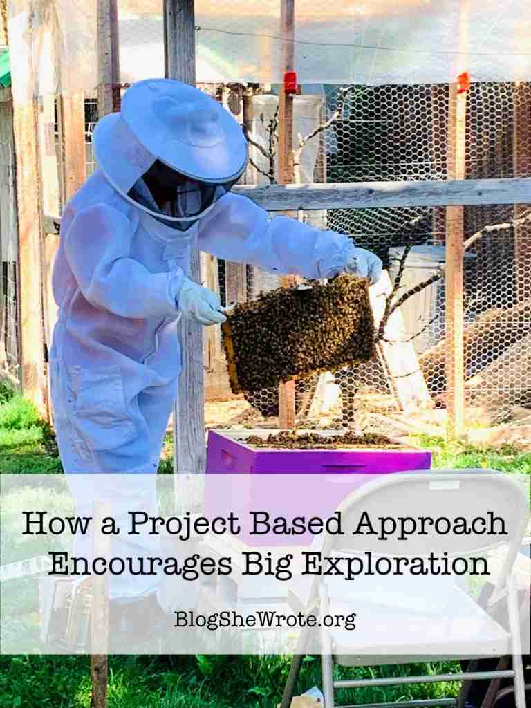 How a Project Based Approach Encourages Big Exploration- Teen Girl in Beekeeper gear working with bees