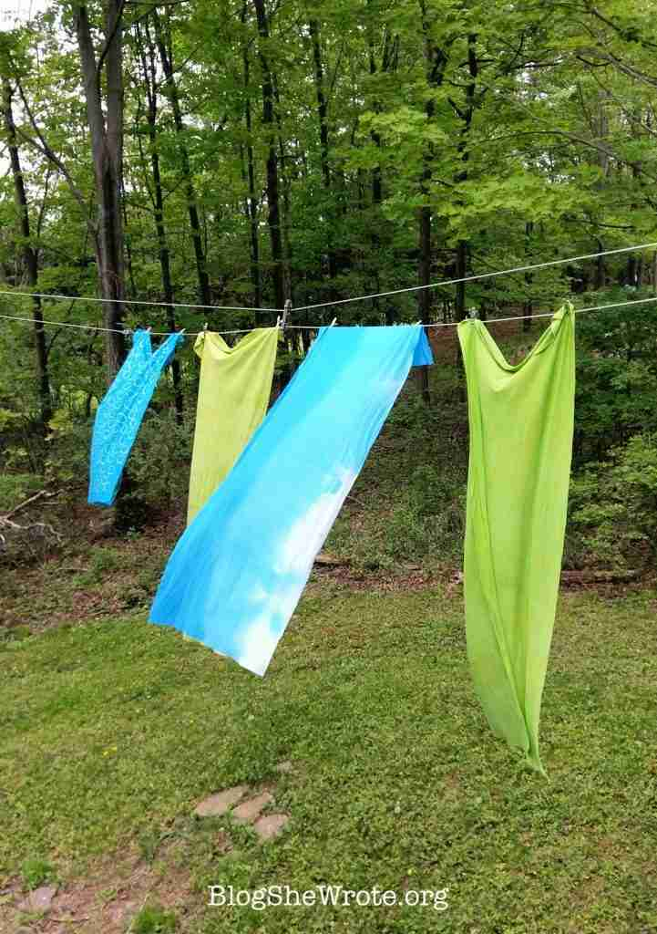 How to Plan a Unique Project Based High School Course- dyed fabric hanging on a clothesline
