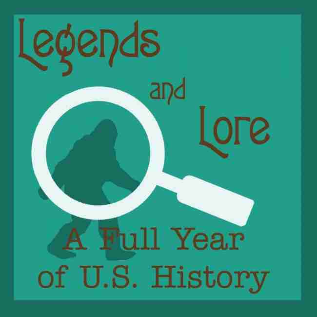 legends and lore with bigfoot silhouette and a magnifying glass