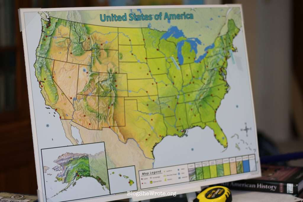 map of the U.S. on an easel